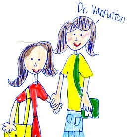 Student drawing of Dr. Van Putten holding hands with girl student